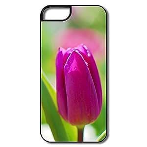 IPhone 5 Cases, Purple Tulip Covers For IPhone 5 - White/black Hard Plastic