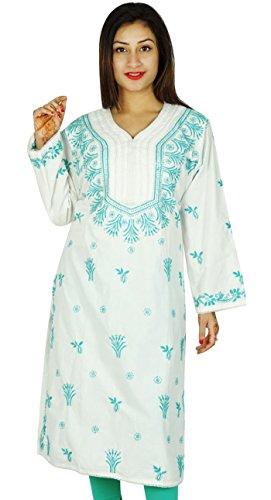 India de Bollywood Chikan Mujeres bordado étnico Kurti vestido de la túnica casual De blanco-2