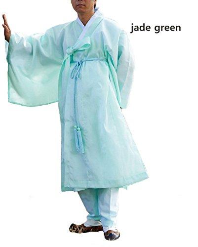 Men Water Silk Robe, Korea Traditional Men Clothing Dopo, Halloween Costumes (jade green, S) by Altair (Image #1)