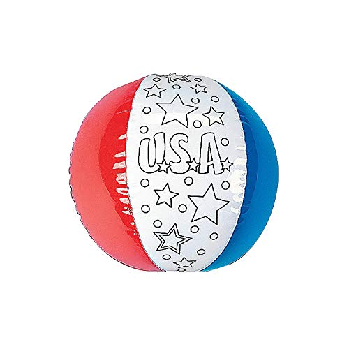 Fun Express Inflatable Color Your Own Patriotic Beach Balls - 4th of July & Craft & Hobby Supplies (Set of 12)