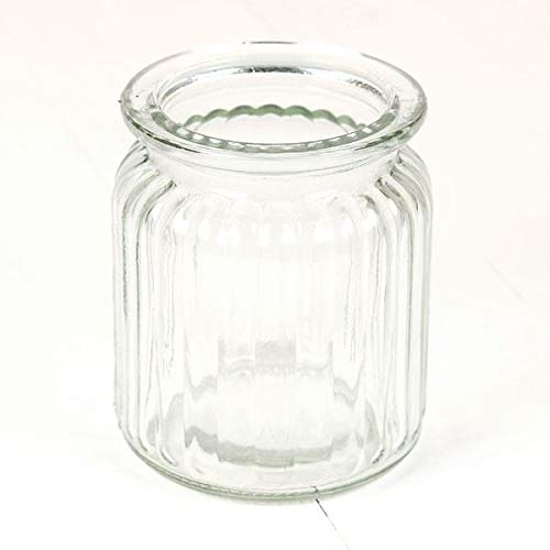 18cm Tall Clear Ribbed Glass Cylinder Flower Vase Hamdis