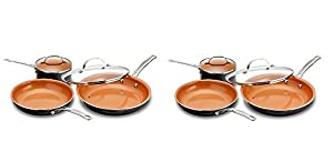 """Gotham Steel 5 Piece Kitchen Essentials Cookware Set with Nonstick Ti-Cerama Copper Coating Includes Multi Use Pan, 2 qt. Pot and 11"""" Fry Pan w Lid (2-(Pack))"""