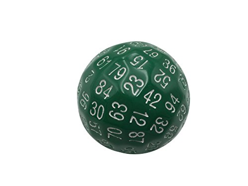 Skull Splitter Dice Single 100 Sided Polyhedral Dice (D100) | Solid Green Color with White Numbering (45mm)