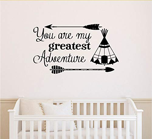 ponana Arrow Wall Decal Quote You are My Greatest Adventure Vinyl Wall Stickers Nursery Sayings Baby Kids Room Playroom Home Decor 42X72Cm