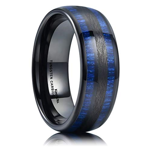 King Will Nature 8mm Mens Domed Blue Maple Inlay Black Tungsten Carbide Ring Brushed Wedding Band 8.5