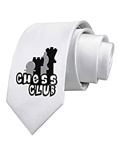 TooLoud Chess Club Printed White Neck Tie