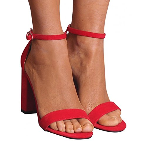 There Closet Sandals Bright Shoe Heels Peep Strappy Toes Block Ladies Ankle High Strap Barely Red SBHXXanq