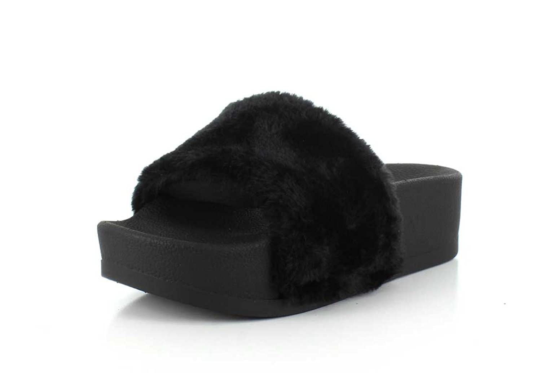 07806beee11dc9 Jeffrey Campbell Women s Lucky Me Platform Faux Fur Slides best ...