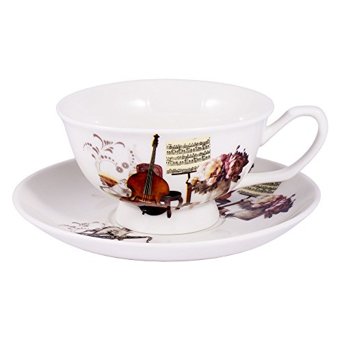 Musical Instrument Ceramic Stoneware Teacup and Saucer In Gift Box