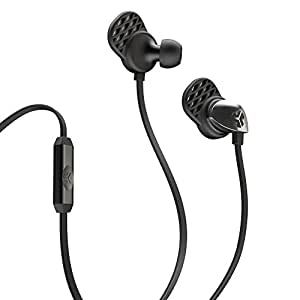 JLab EPIC-BLKBLK-BOX JBuds EPIC earbuds with 13mm C3 Massive Drivers and Customizable Cush Fins, Black