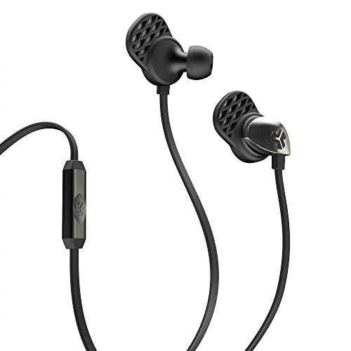 JLab Epic Audio Wired Earbuds with Travel Case | 13mm C3 Drivers | Custom Fit with Silicone Cush Tips | Universal Mic | Black