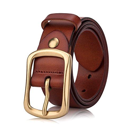 Designer Buckle (Men's Casual Belt - Men's Genuine Leather Belts with Brass Gold Buckle, Top-Grain One Piece Solid Leather Jeans Belts For Men.[GR-BROWN-120cm])