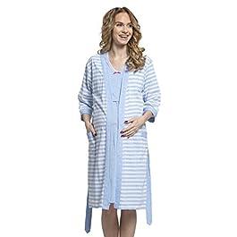 HAPPY MAMA. Women's Maternity Nursing Nightdress Robe Set Stripes Pattern. 190p