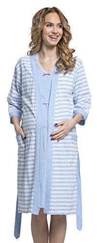 Happy Mama Womens Maternity Nursing Nightdress Robe Set Stripes Pattern. 190p (Blue, US 4/6, - Nightdress Stripe