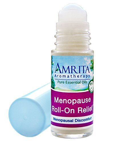 Amrita Aromatherapy: Menopause Roll-On Relief (Natural Hot Flashes Relief) with Essential Oils of Vitex, Jasmine Absolute, Rose Geranium, Clary Sage and Fennel in a Certified Organic Lotion Base - Roll On Applicator Style (Size: 30ml)