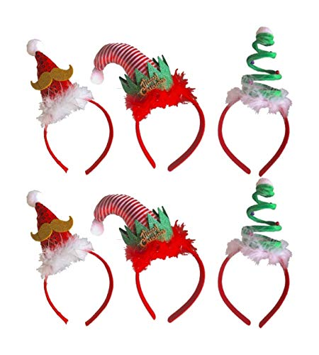 Christmas Headbands - 6 Pack 3 Assorted Designs with White Feather Christmas Tree Elf and Santa Hat - Perfect for Christmas Costume Party
