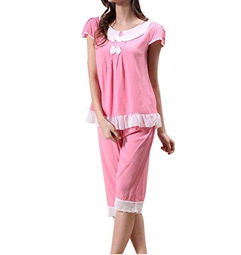 2017 Ms Sólida Comodidad Traje Pijama De Manga Corta Ocasional Pink
