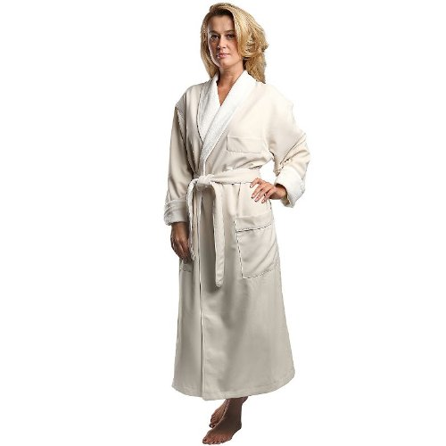 Monarch/Cypress Unisex Terry Lined Microfiber Robe Medium Natural
