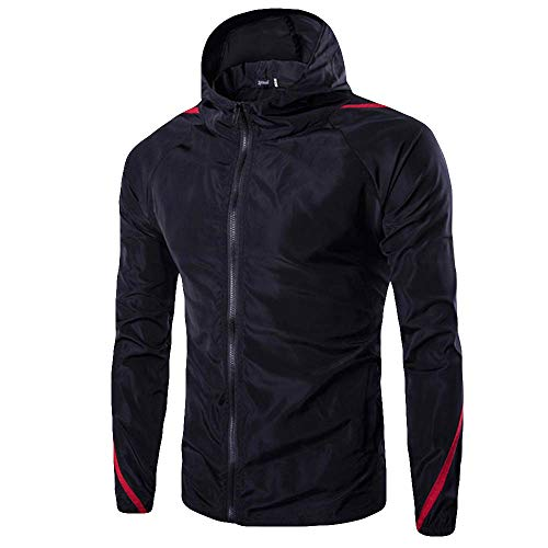 ZYAP Men's Spring Autumn Winter Casual Long Sleeve Pure Color Sweatshirt Hoodies(Black,S) ()