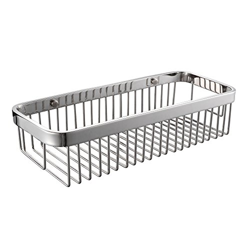 KES SOLID SUS 304 Stainless Steel Shower Caddy Bath Basket Storage Shelf Hanging Organizer Rustproof Wall Mount, Polished Finish, BSC201 (Shower Basket Chrome Finish)