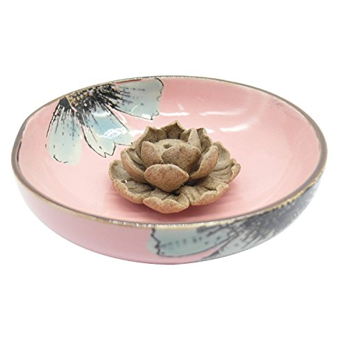(TRENDBOX Ceramic Handmade Artistic Incense Holder Burner Stick Coil Lotus Ash Catcher Buddhist Water Lily Plate - One Hole Light Pink)