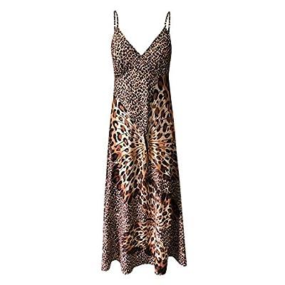 Muranba Womens Dresses Deep V Leopard Butterfly Wrap Sling Sleeveless Nightclub Beach Long Dress