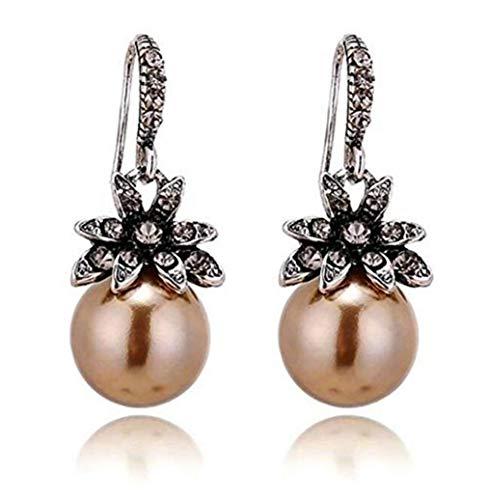CHASIROMA Sun Flower Pearl Drop Earrings Cultured Pearl CZ Elegant Sunflower Stud Earrings