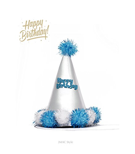 (Handcrafted Blue cone Birthday Party Hat Sparkling Pom Poms Ultra Soft Sponge Material)
