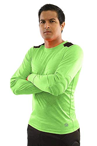 Admiral Sports Solo Soccer Goalie/Goalkeeper Adult Crew-Neck Jersey, Padded Elbows, VaporDraw Fabric (Fluorescent Green, AS)