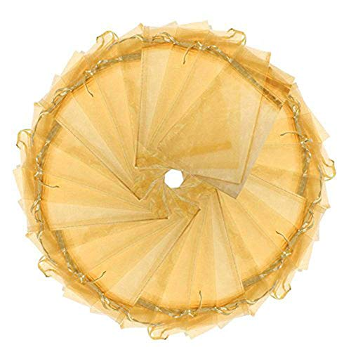 Wuligirl 100pcs Gold Organza Gift Bags Drawstring Cosmetics Jewelry Candles Pouches Party Wedding Favor Christmas Pine Cones Seashell Buttons Chocolates Candy Packing Bags(100pcs Golden 3.9x4.7)