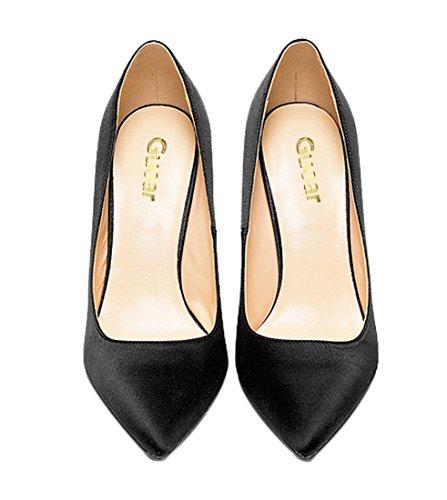 Guoar Womes Bout Pointu Grande Taille Talon Haut Talon Matériaux Spéciaux Pompes Chaussures Noir Soie