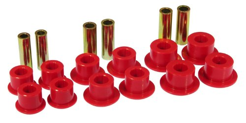 Spring Rear Bushings - Prothane 7-1055 Red Rear Spring Eye and Shackle Bushing Kit