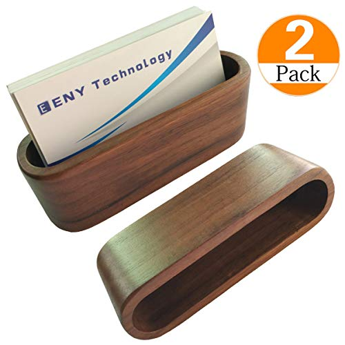 Display Holder, Brown Walnut Wood Card Case for desk desktop, wooden Name Card Stand for Office, Name Card Holder for Tables Organizer index card filing ()
