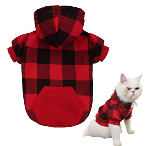 KOOLTAIL Plaid Dog Hoodie for Puppy Cats Pet Clothes, Red XS