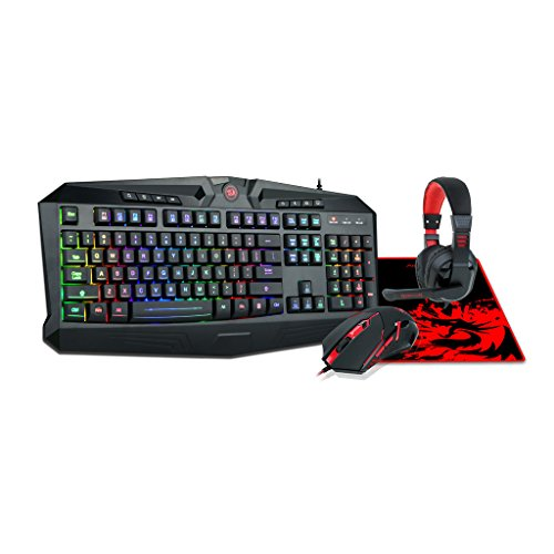 Redragon S101-BA Gaming Mouse, Keyboard, Headset with Microphone Mouse Pad Combo, RGB LED Backlit 104 Keys USB Wired Ergonomic Wrist Rest Keyboard for Windows PC Gamer - [Keyboard Mouse Headset Pad]
