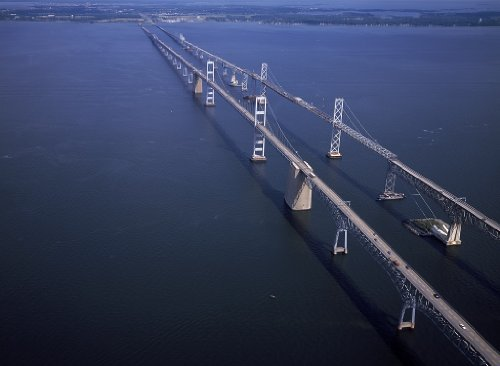 Chesapeake Bay Bridge (18 x 24 Art Canvas Print of Chesapeake Bay Bridge from Annapolis to Maryland's Eastern Shore r69 [between 1980 and 2006] by Highsmith, Carol M.,)