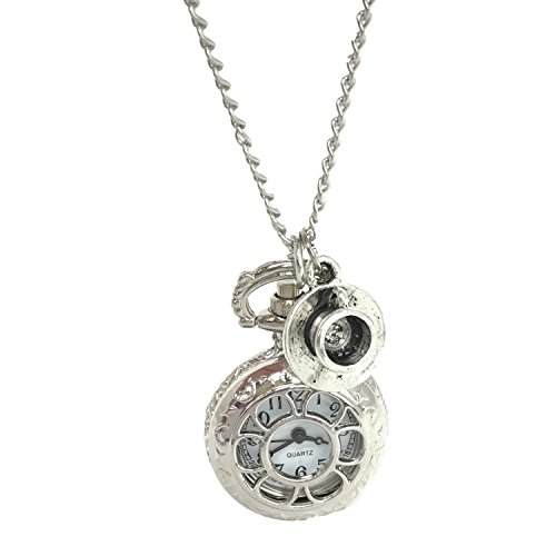 UMBRELLALABORATORY Steampunk Pocket Watch Necklace | Victorian Style, Silver Finish Handmade Accessory (Date Watch Pocket Silver)