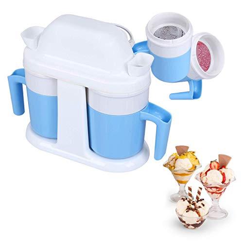 Ice Cream Machine, HoLead Mini Ice Cream Machine Mug Design Double Cup Structure, Medium