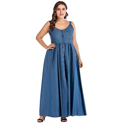Sexy Women Large Size Denim Dress Summer Sundress Strap Button Solid Split Jeans Dress Long Blue]()