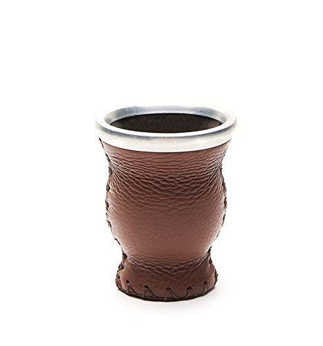 Balibetov [NEW] Leather & Glass Yerba Mate Gourd set (Mate cup) with Yerba Mate Bombilla (straw) BROWN