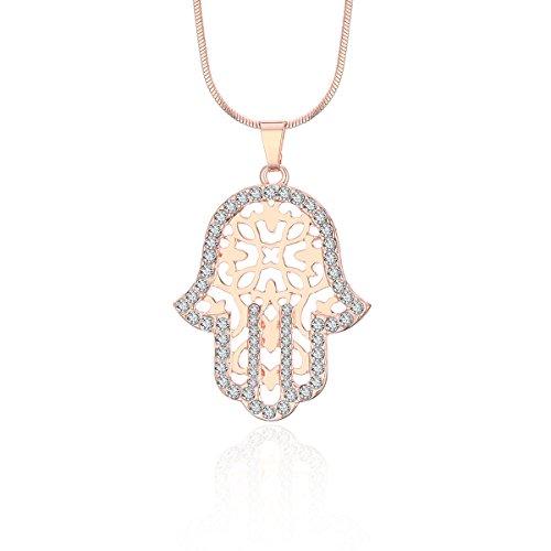Roses Hamsa Necklace - Hamsa Hand Pendant Neckalce for Women,Gold and Silver Long Snake Chain Necklace Girls CZ Crystal Neckalce (Rose Gold)