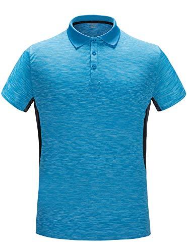 GEEK LIGHTING Men's Polo Shirt Quick-Dry High Moisture Wicking Short Sleeve Sports Golf Tennis T-Shirt (Lakeblue,L)