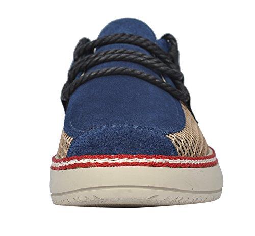 Sereno Uomo Estate Casual Traspirante In Pelle Scamosciata Mesh Lace Up Moda Sneaker Blu