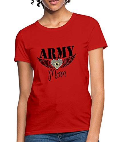 (Spreadshirt Army Mom Winged Heart Women's T-Shirt, 2XL (Size 20-22), red)