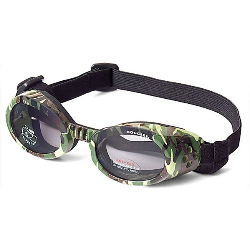 Doggles ILS Dog Goggle sunglasses in Green Camo / Smoke Lens Large