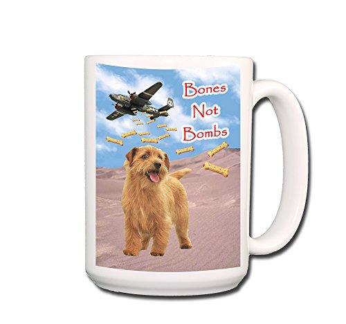 Norfolk Terrier Bones Not Bombs Peace Coffee Tea Mug 15 oz