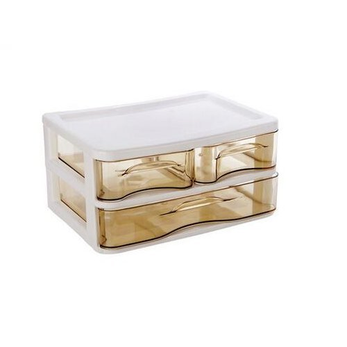 Chris.W Stackable Desktop 3-drawer Storage Unit Beauty Cube 2 Tier Drawers Acrylic Cosmetic Box Semi-clear View Vanity Makeup Organizer Holder for Office/Bathroom/Home, - Desktop Plastic Tier Three