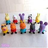 Misciu 10PCs/Lot Peppa Pig Friends Suzy Emily Danny Rebacca Figure Toys Gifts FRE