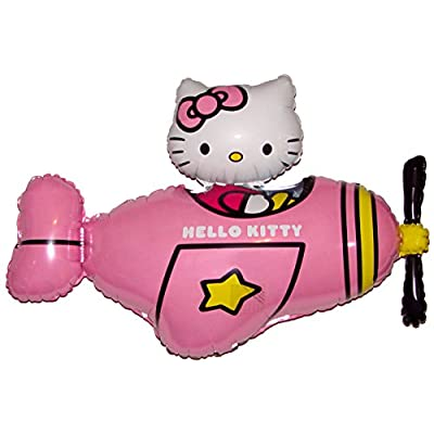 Fantastic Floatables Anti-Gravity Hovering Flying Floating HELLO KITTY AIRPLANE Pink 35 inch Toy Pet Balloon Party Favor: Toys & Games
