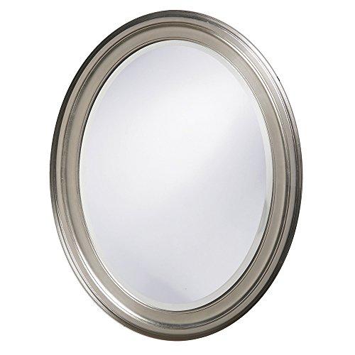 Howard Elliott George Oval Wood Framed Wall Vanity Mirror, Bright Silver, -